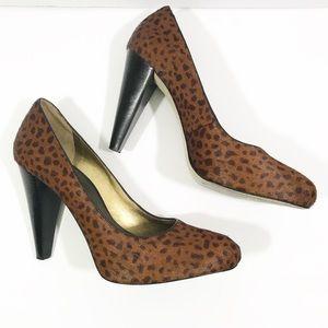 Banana Republic leopard calf hair heels